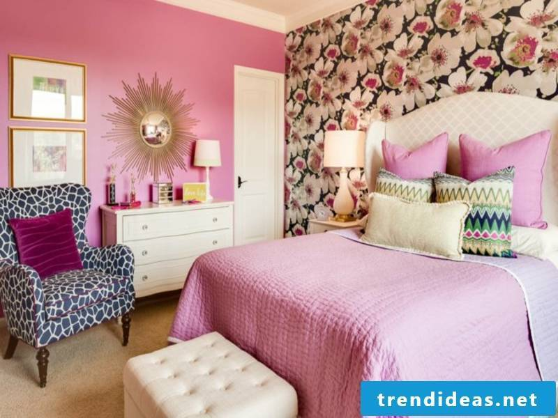 bedroom in pink color