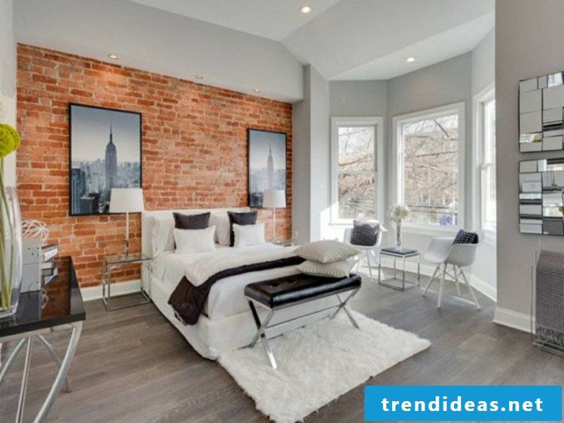 bedroom design and brick wall