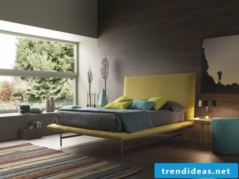 zen bedroom design and yellow accents