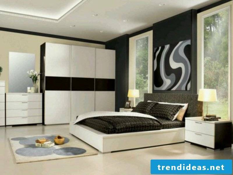 modern bedroom design with white cupboards