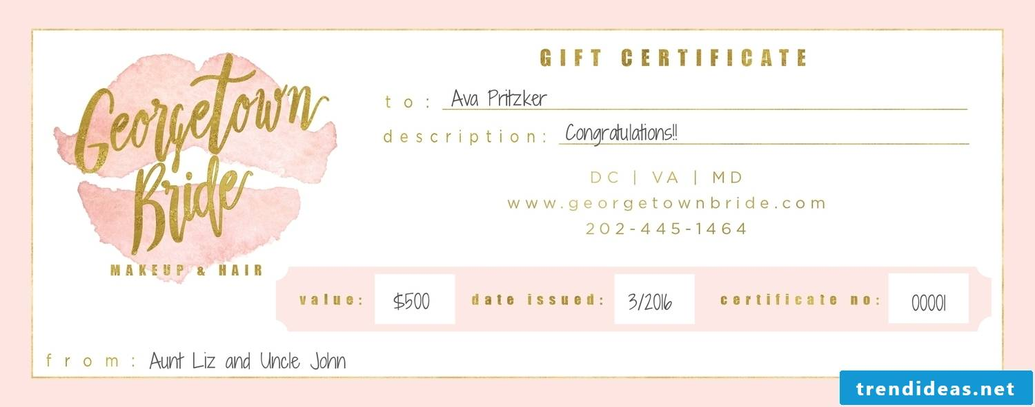 Voucher template for bridal gift