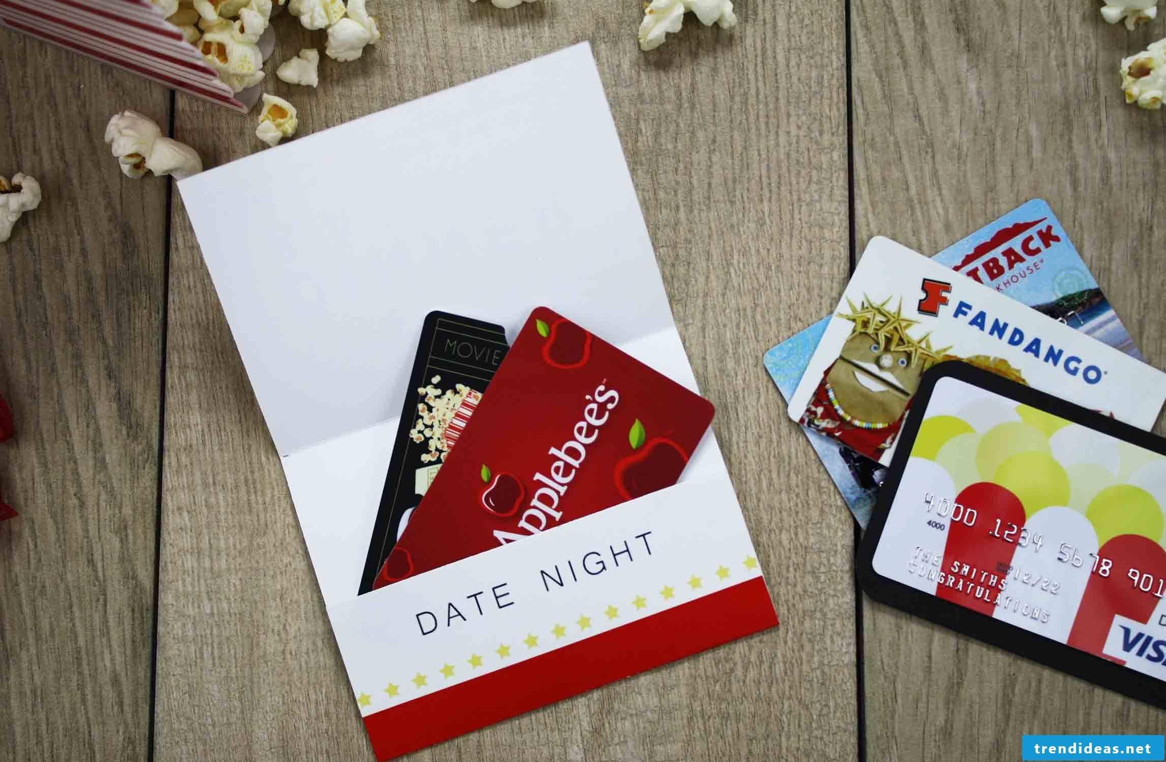 Original wedding gift - Make cinema voucher or pack concert tickets