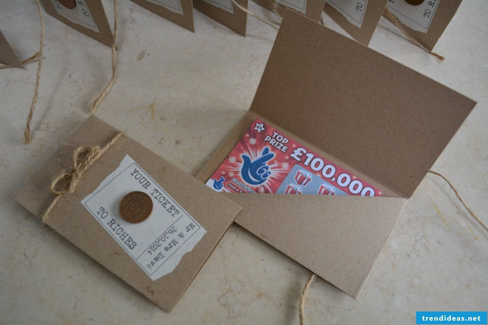Make a coupon - lottery ticket as a wedding present