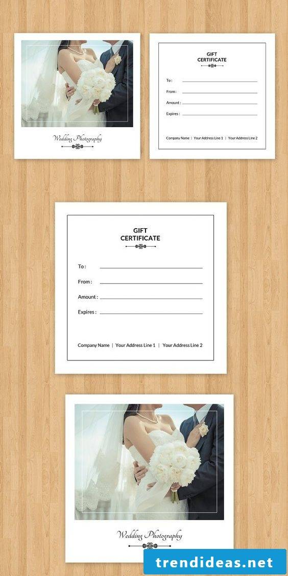 Make a gift coupon as a creative wedding gift