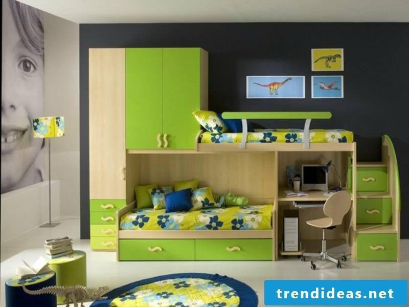 Pretty green color in the boy's room