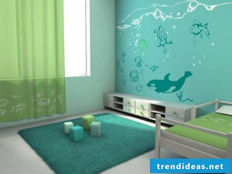 green nuances in the boy's room