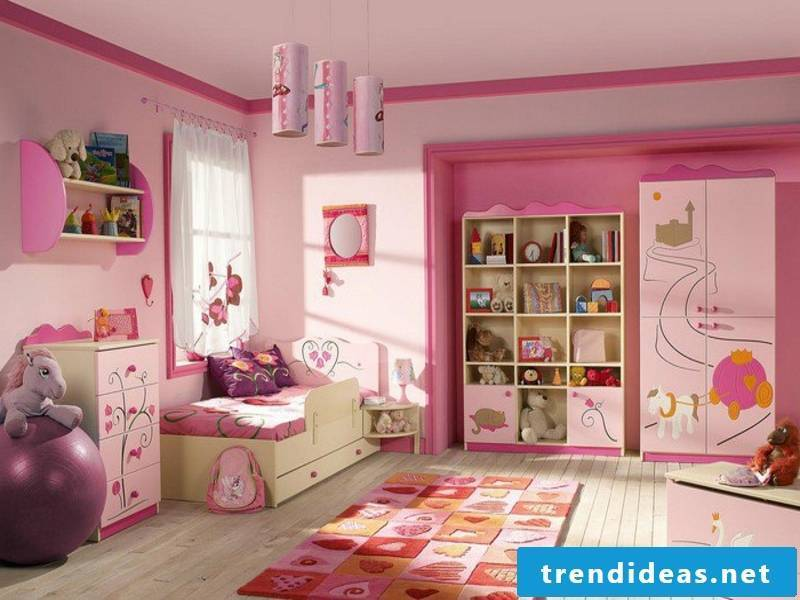 bright pink color in the girl's room
