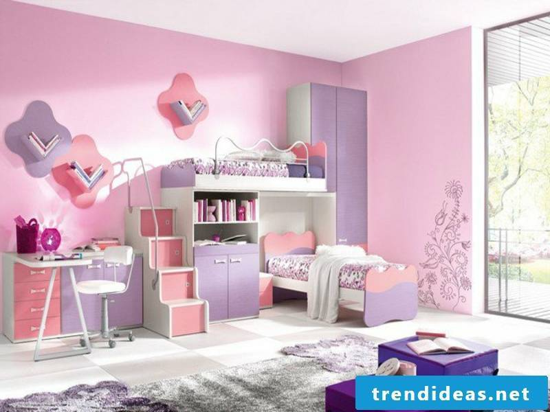 pink color in the girl's room