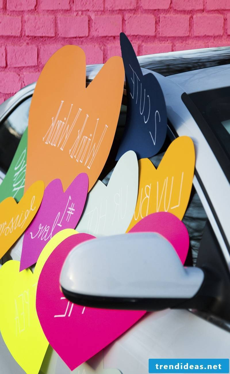 Great idea for Valentine's Day surprise - stick your girlfriend's car on it