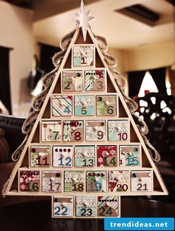 Advent calendar in fir tree shape