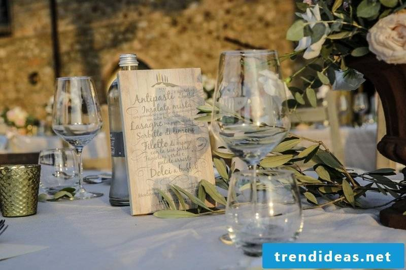 wedding cards craft menu card on a wooden plate
