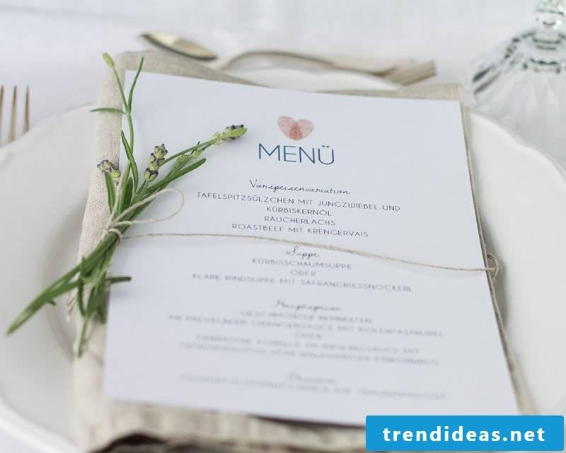 tinker wedding cards subtle white menu card combined with lavander