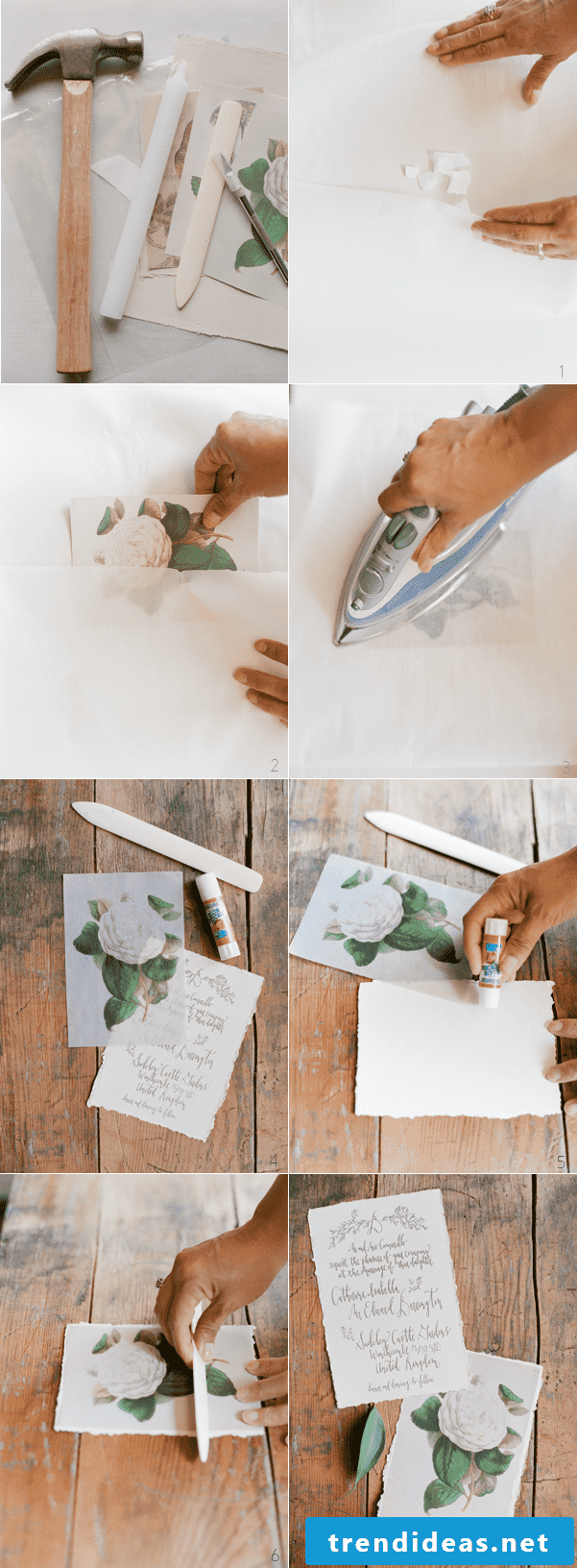 tinker wedding cards with a ironing instruction