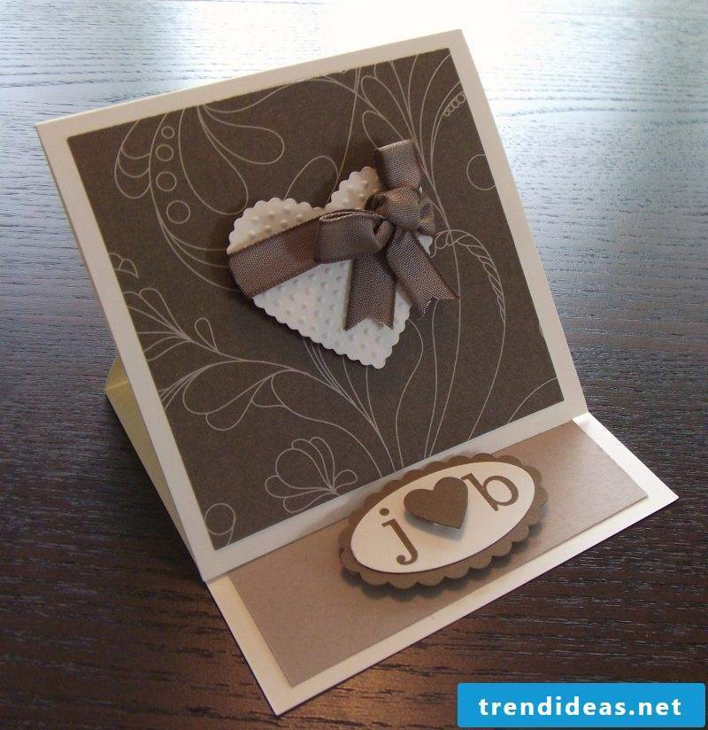 tinker brown wedding cards with a heart on the front