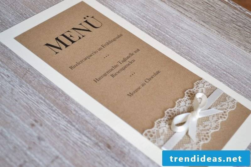 wedding cards craft vintage menu card on cardboard