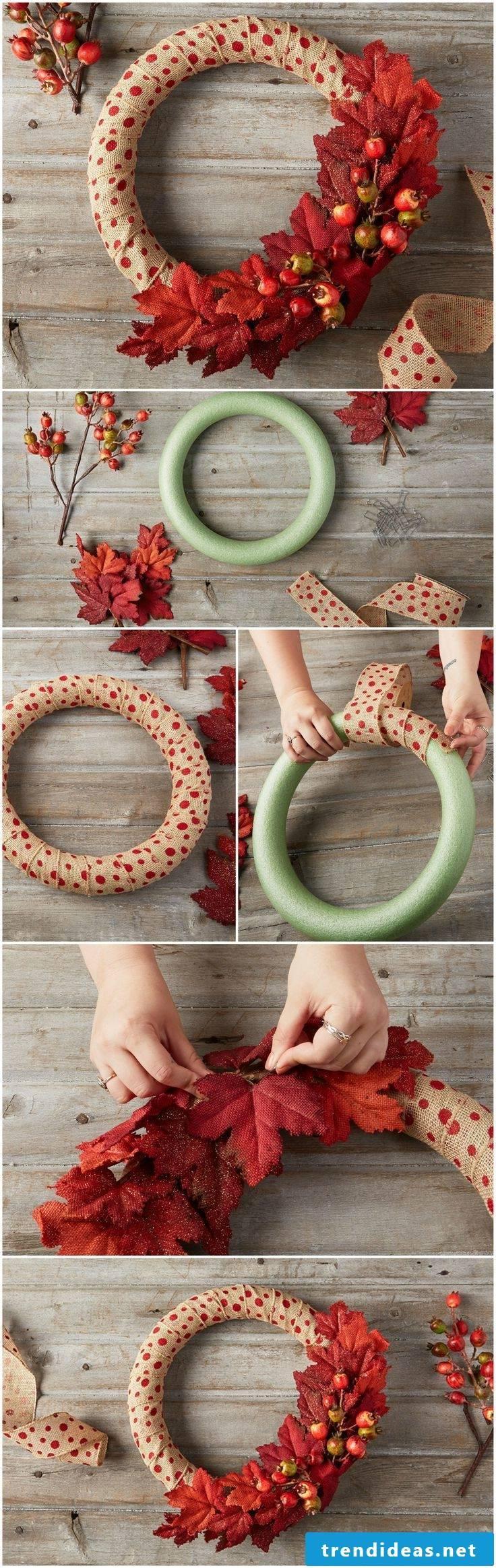 Autumn decoration modern wreath make yourself