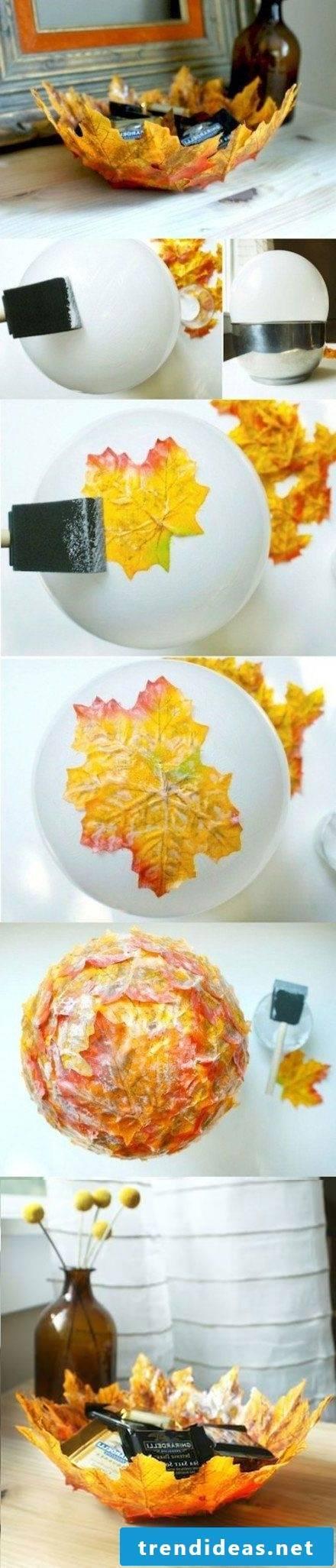 Table decoration autumn - making autumn leaves