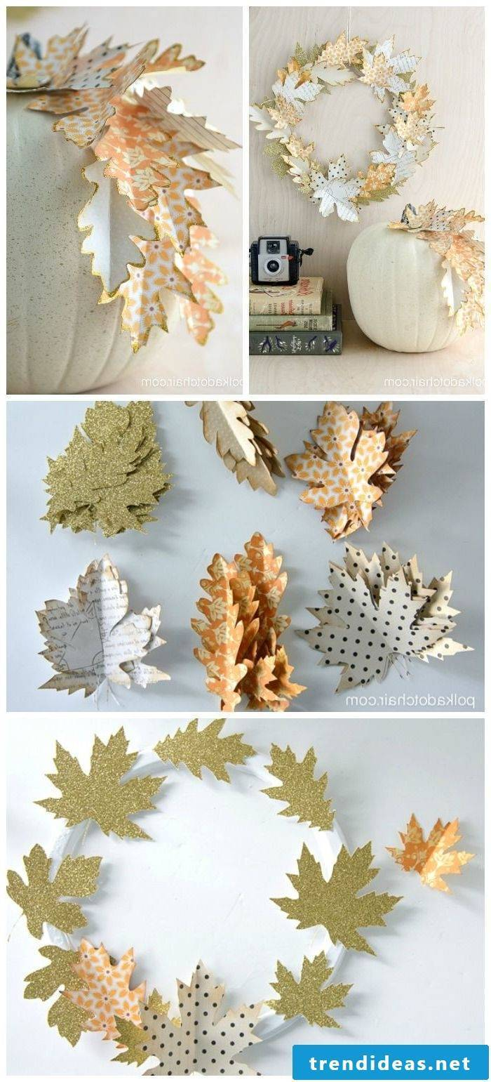 Autumn decoration modern - white and gold
