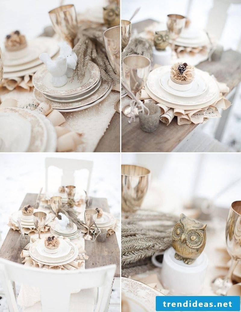 Autumn decoration table in beige and white