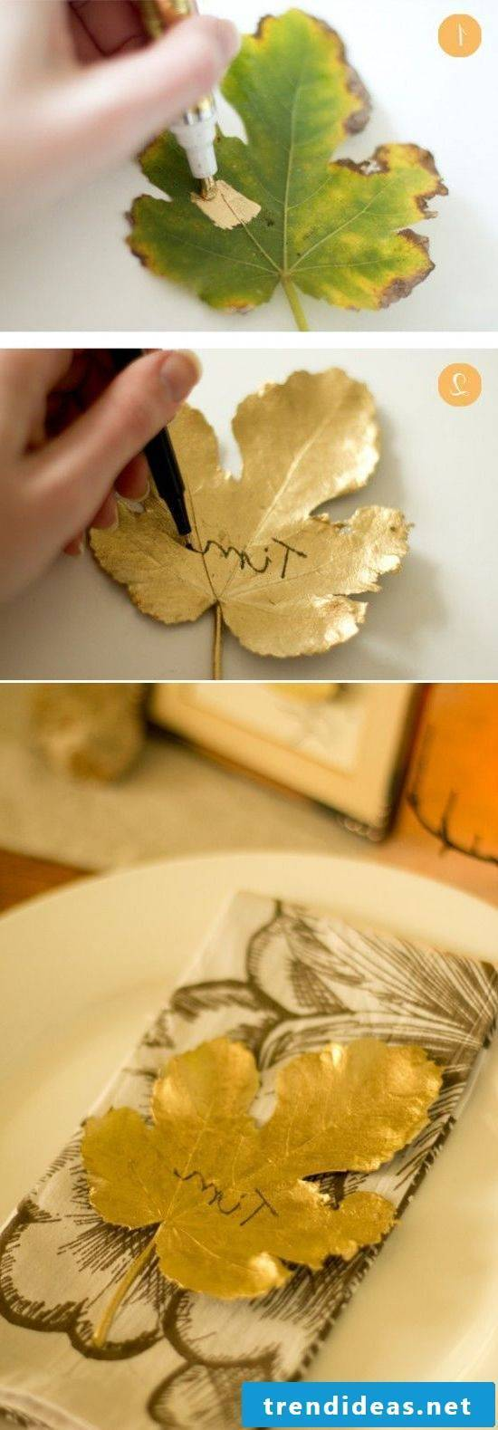Tischdeko Herbst - Make place cards with autumn leaves