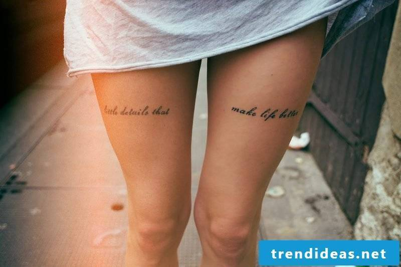 tattoo writings font females thighs