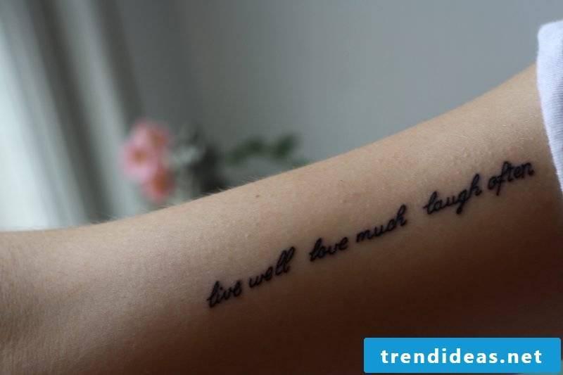 writings tattoos arm ideas women