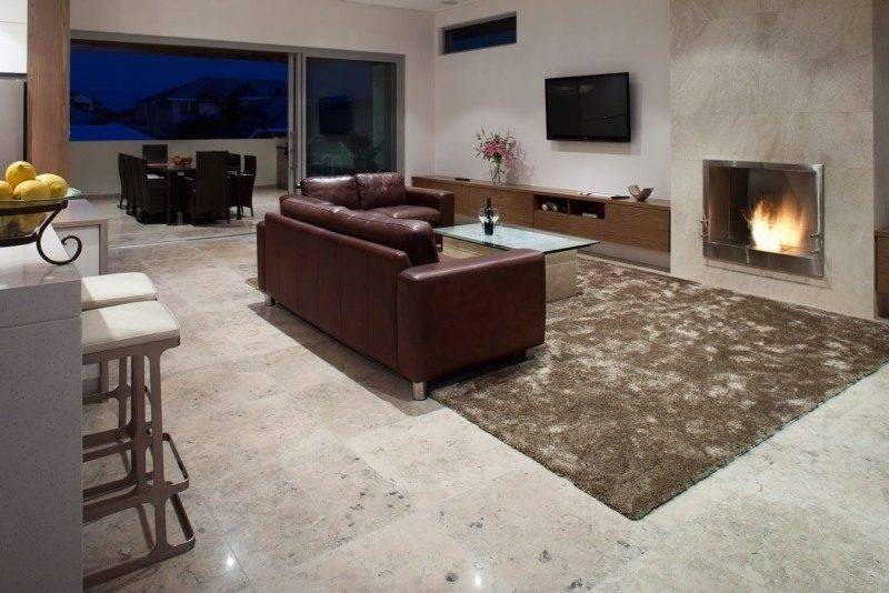 Living room flooring travertine tiles