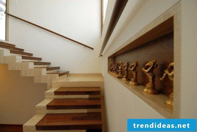 Staircase paneling travertine tiles