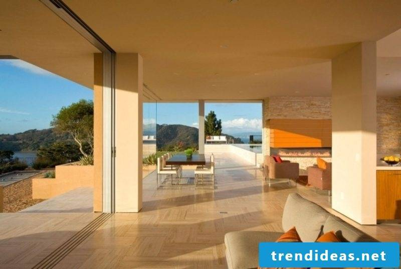 Travertine tiles as flooring