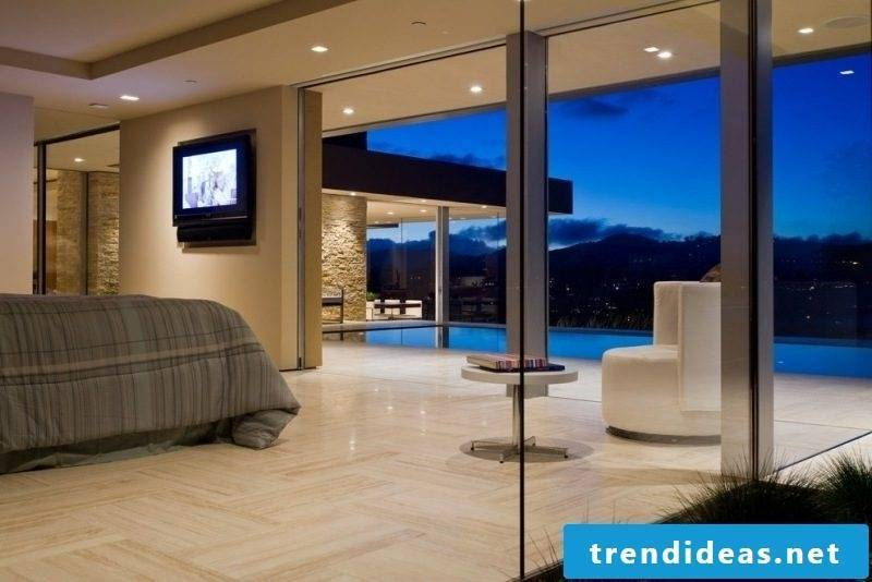 Bedroom travertine tiles