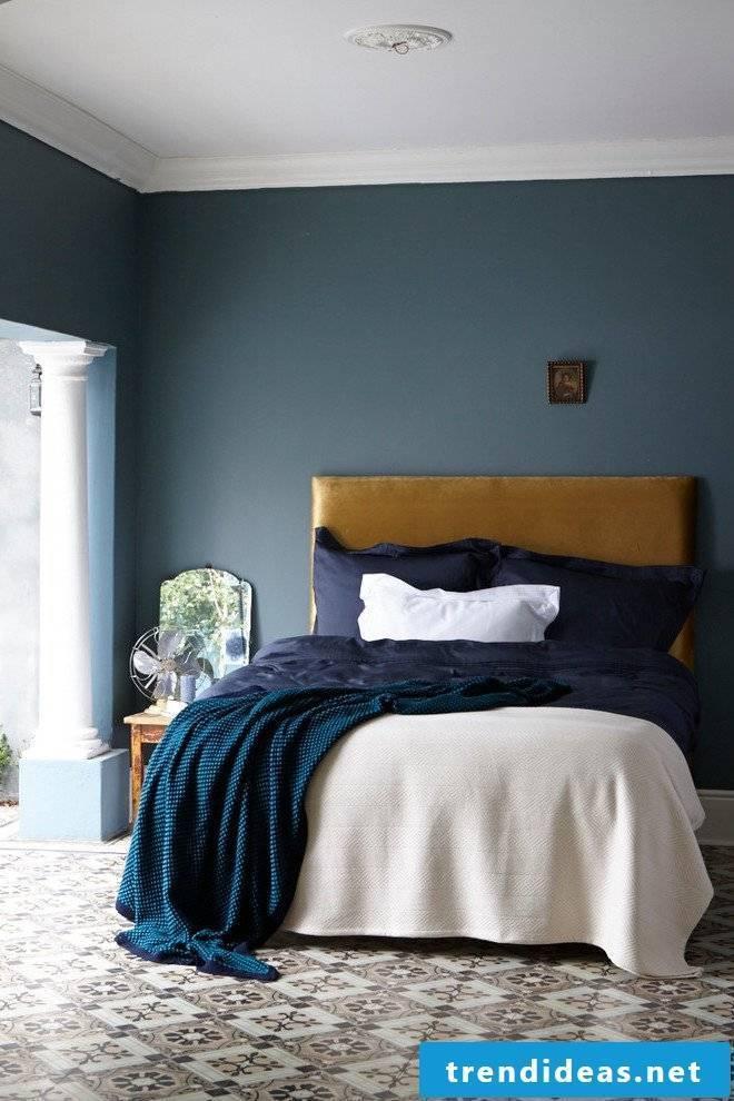 Petrol color bedroom wall paint