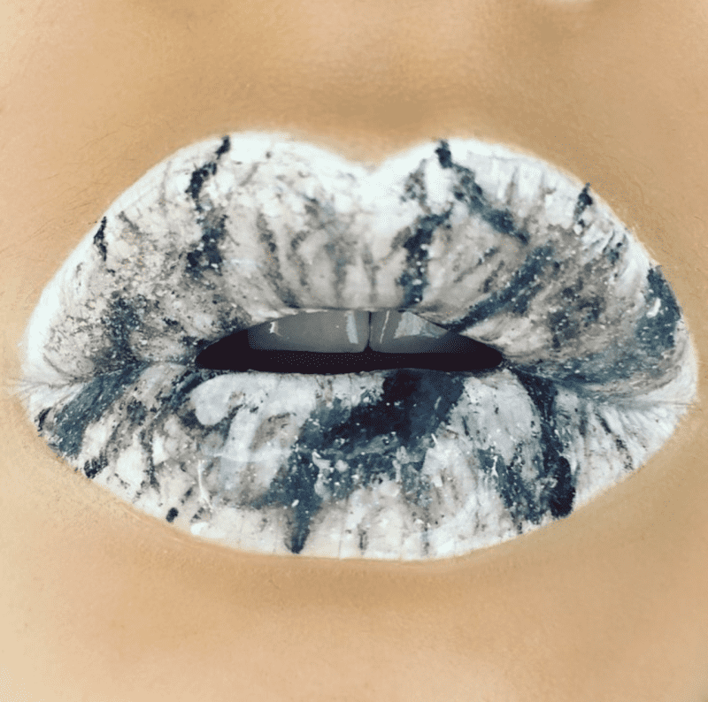 Beautiful lips with marble effect