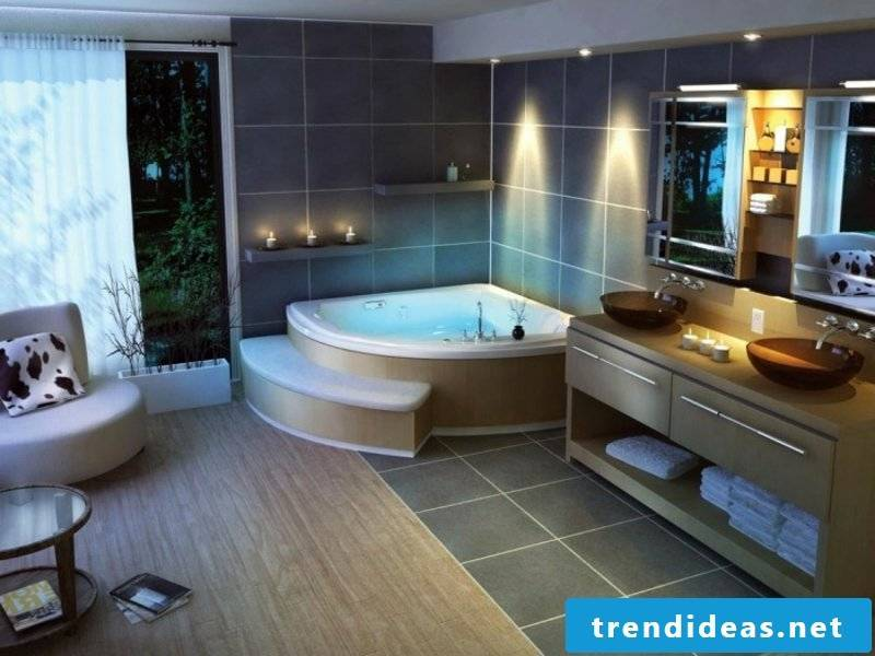 Several designer light sources in the bathroom