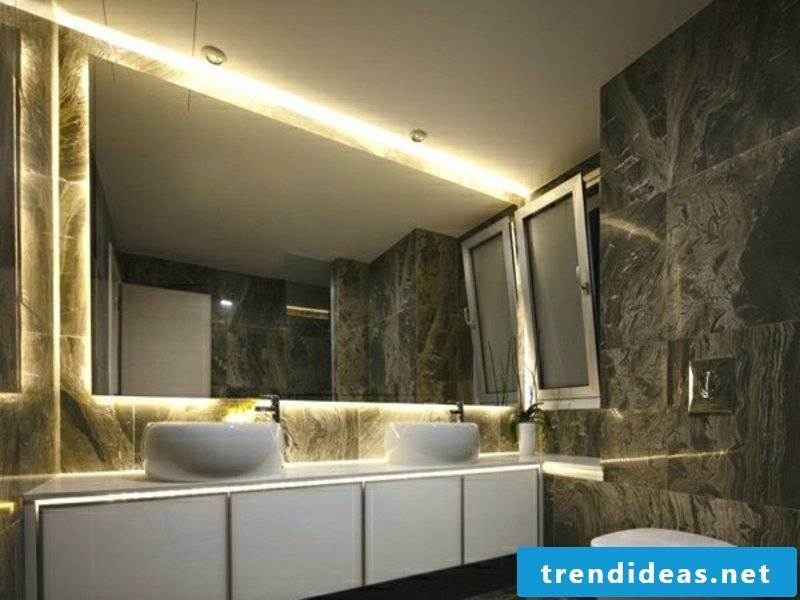 modern bathroom lighting in the marble bathroom
