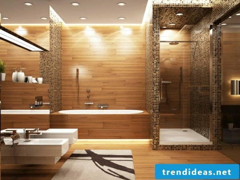 Ceiling lighting in the modern bathroom interior