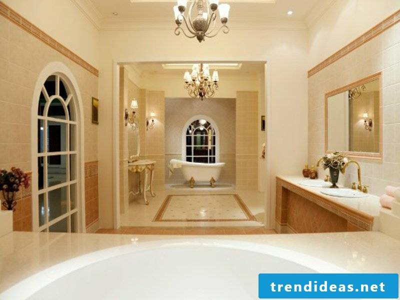 Two luxurious chandeliers in the bathroom