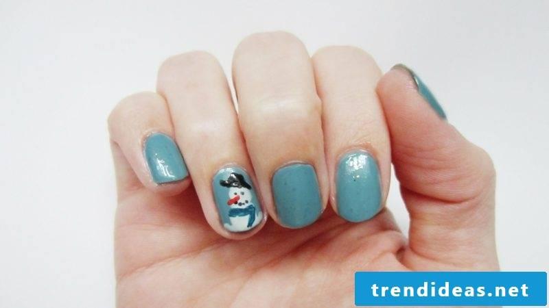 Nails art design for christmas santa claus blue