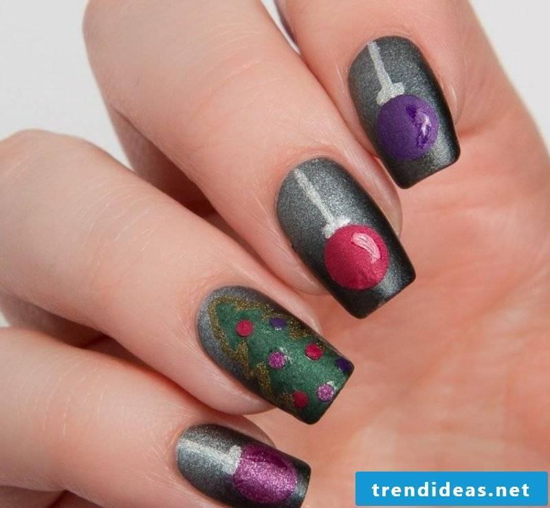 Nail art design for Christmas dark christmas decorations matt glitter