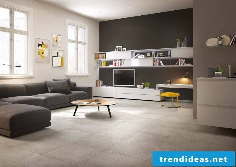 Tiles in the living room in gray