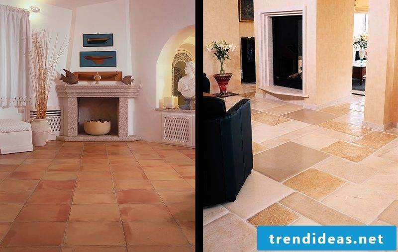 Tiles in the living room types