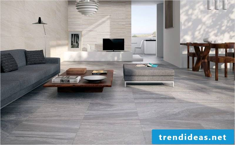 Tiles in the living room idea