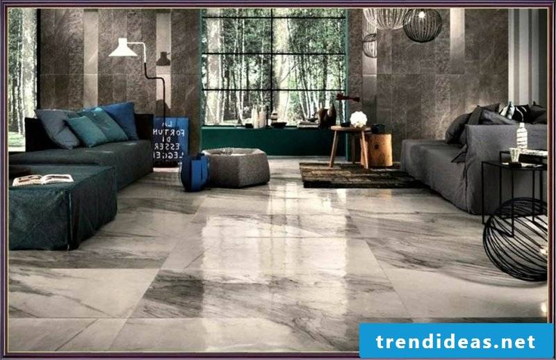 Tiles in the living room marble