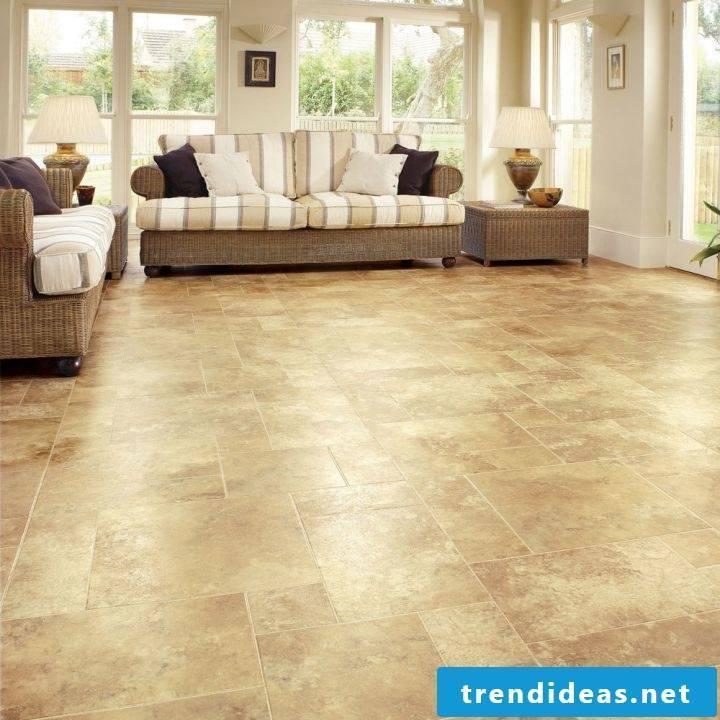 Tiles in the living room in beige
