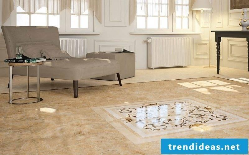 Tiles in the living room marble floor