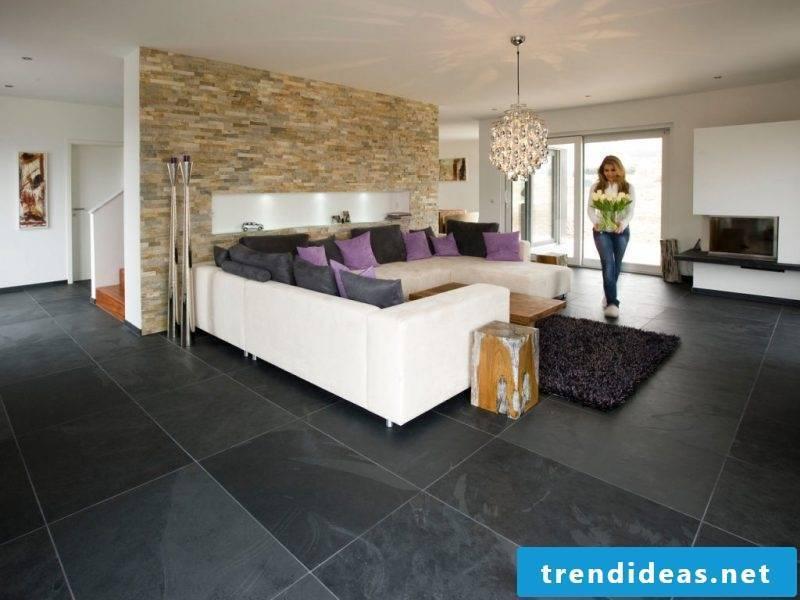 Tiles in the living room black