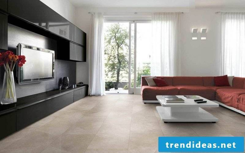 Tiles in the living room design