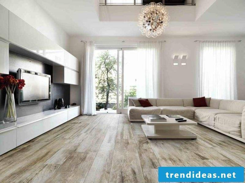 Tiles in the living room wood look