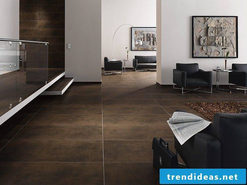Tiles in the living room brown