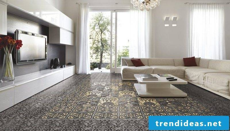 Tiles in the living room ideas
