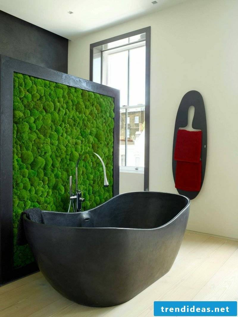 vertical garden ideas wall decoration dark gray bathtub vertical garden moss effective